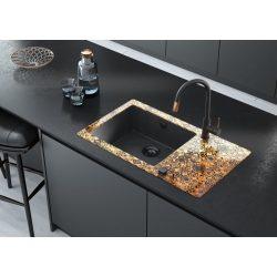 Deante Capella ZSC GM2C bronz üveg-gránit mosogatótálca